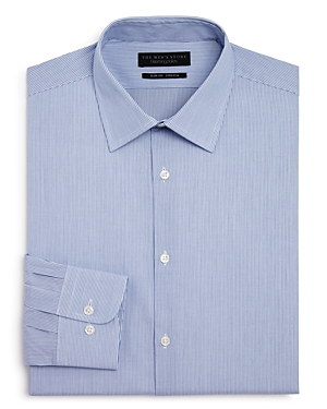 The Men's Store at Bloomingdale's Fine Shadow Striped Stretch Slim Fit Dress Shirt - 100% Exclusive