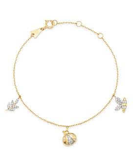Adina Reyter - 14K Yellow Gold Garden Diamond Pavé Three Charm Bracelet - 100% Exclusive
