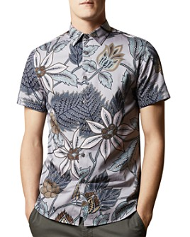 Ted Baker - Canwe Cotton Bird-Print Slim Fit Shirt