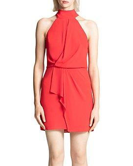 HALSTON - Mock-Neck Mini Dress