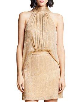 HALSTON - Metallic Mock-Neck Dress