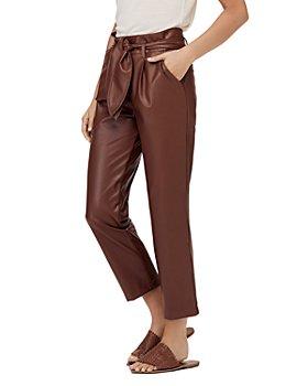 David Lerner - Lexi Faux-Leather Paperbag-Waist Pants
