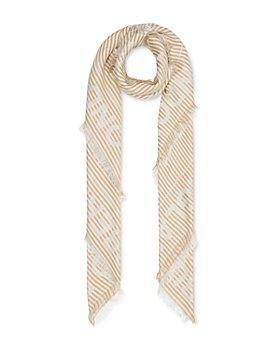 Burberry - Striped Logo Jacquard Silk & Wool Scarf