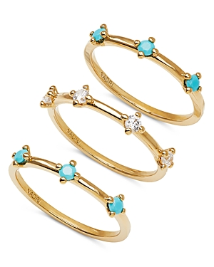 Nadri 18K Gold-Plated Crystal & Stone Stack Ring Set, Set of 3