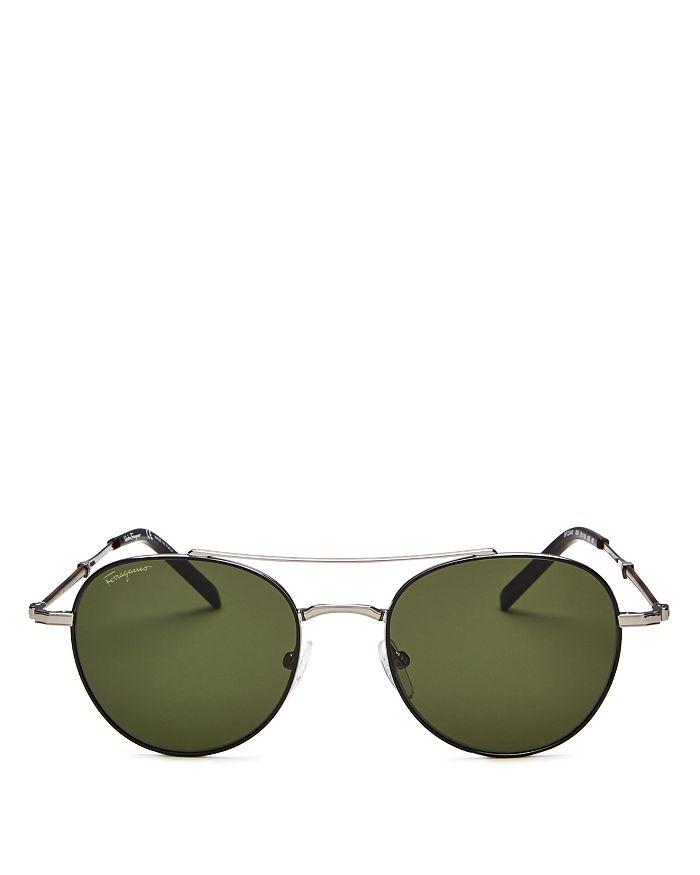 Salvatore Ferragamo - Men's Timeless Brow Bar Round Sunglasses, 51mm
