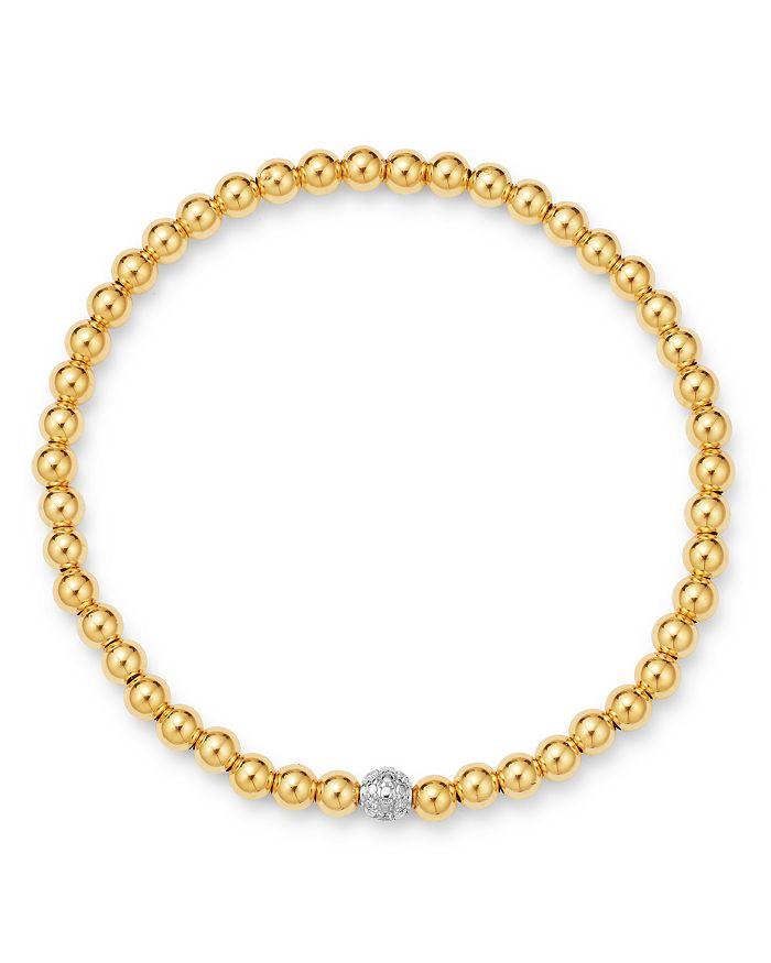 Moon & Meadow - Diamond & Gold Bead Bangle Bracelet in 14K Yellow Gold & 14K White Gold, 0.05 ct. t.w.