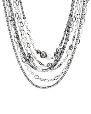 John Hardy Sterling Silver Classic Chain Multi-Strand Cultured Tahitian Pearl Necklace, 17-18