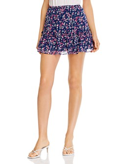 AQUA - Printed Ruffled Mini Skirt - 100% Exclusive