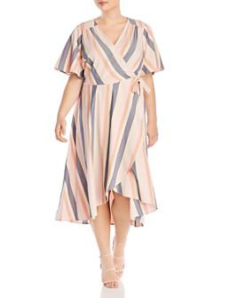 B Collection by Bobeau Curvy - Orna Striped Wrap Dress