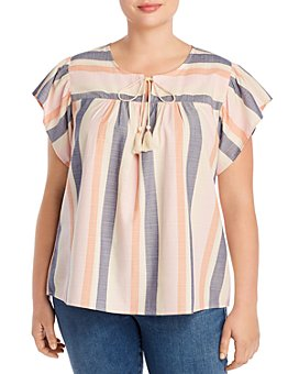 B Collection by Bobeau Curvy - Romina Striped Tie-Neck Blouse