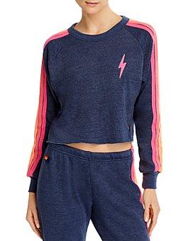 Aviator Nation - Striped Cropped Sweatshirt