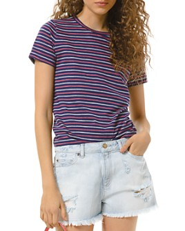 MICHAEL Michael Kors - Cotton Railroad Striped Tee