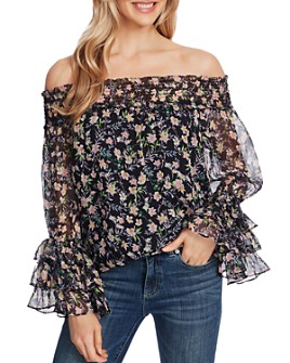 CeCe - Off-the-Shoulder Printed Blouse