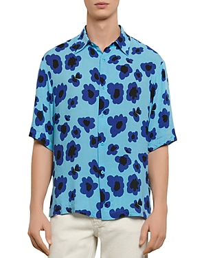 Sandro Poppies Print Casual Short Sleeve Button-Up Shirt
