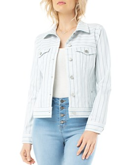 Liverpool Los Angeles - Classic Jean Jacket in Dawn Blue Dotted Stripe