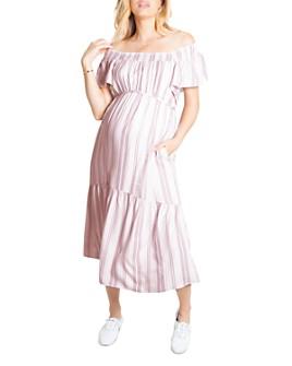 Ingrid & Isabel - Maternity Flutter Sleeve Tiered Midi Dress