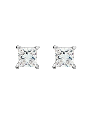 Lab-Grown Diamond Princess-Cut Stud Earrings in 10K White Gold-Plated