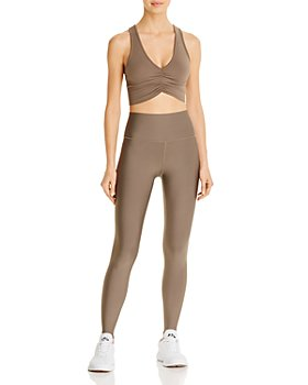 Alo Yoga - Olive Branch Sports Bra & High-Waist Tech Lift Airbrush Leggings