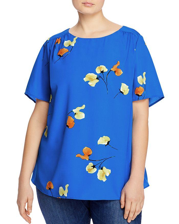 Daniel Rainn Plus Floral Print Top In Blue
