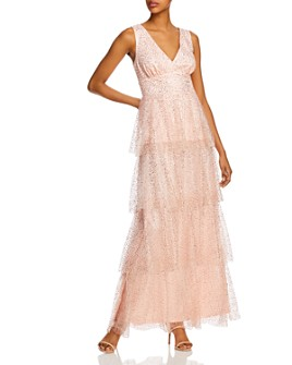Laundry by Shelli Segal - Tiered Glitter-Mesh Gown - 100% Exclusive