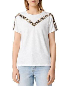 Maje - Toblo Embroidered Linen T-Shirt
