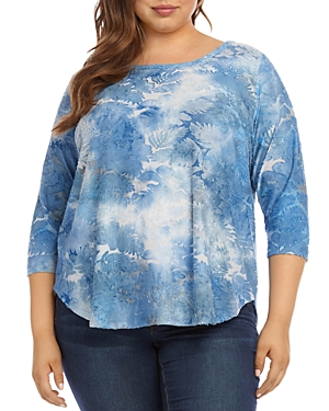 Karen Kane Plus Tie-Dyed Jacquard Burnout Top
