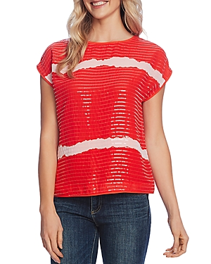 Vince Camuto Striped Sequined Top-Women