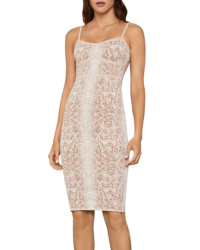BCBGMAXAZRIA - Snakeskin-Print Sleeveless Dress