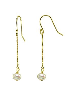 Aqua Cultured Freshwater Pearl Chain Drop Earrings - 100% Exclusive