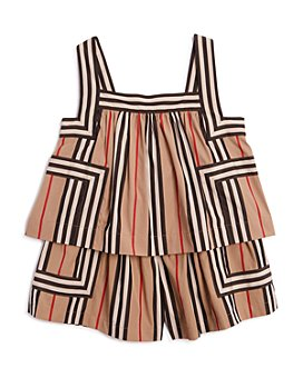 Burberry - Girls' Florence Icon Stripe Romper - Little Kid, Big Kid