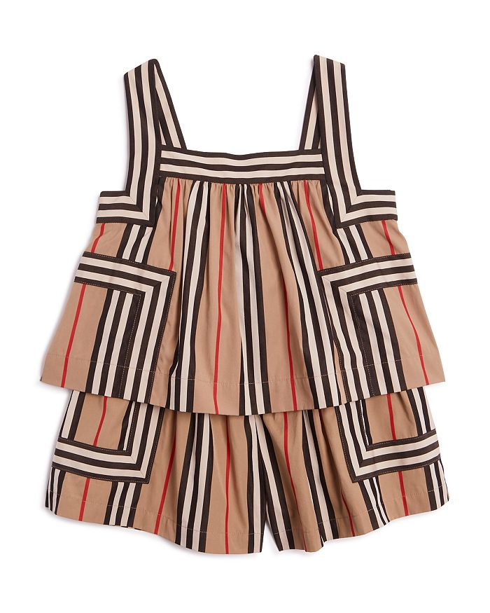 Burberry Girls' Florence Icon Stripe Romper - Little Kid, Big Kid In Archive Be
