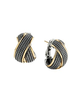 David Yurman - DY Origami Crossover Shrimp Earrings in Blackened Sterling Silver and 18K Yellow Gold