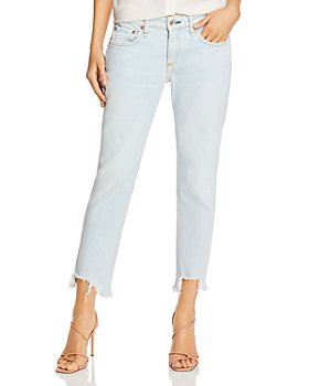 rag & bone - Dre Low-Rise Ripped-Hem Jeans in Melrose