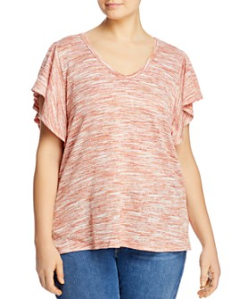 B Collection by Bobeau Curvy - Tenley Flutter-Sleeve Tee