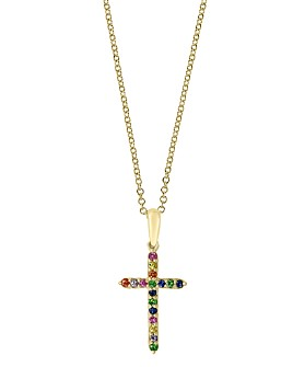 """Bloomingdale's - Rainbow Sapphire Cross Pendant Necklace in 14K Gold, 18"""" - 100% Exclusive"""