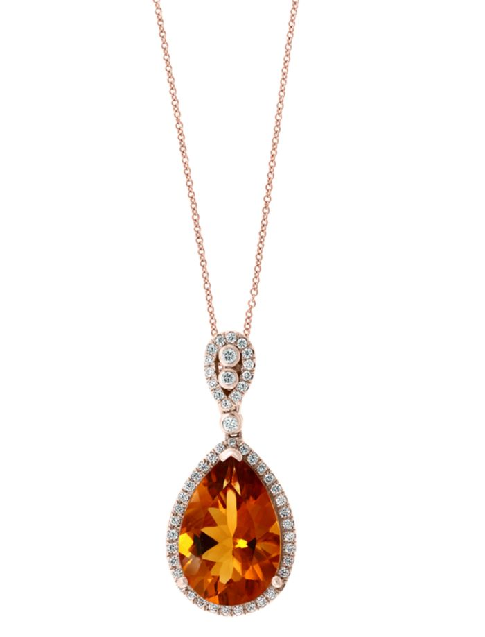 "Bloomingdale's Madeira Citrine & Diamond Teardrop Pendant Necklace in 14K Rose Gold, 18"" - 100% Exclusive  | Bloomingdale's"