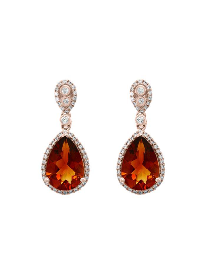 Bloomingdale's Madeira Citrine & Diamond Drop Earrings in 14K Rose Gold - 100% Exclusive  | Bloomingdale's