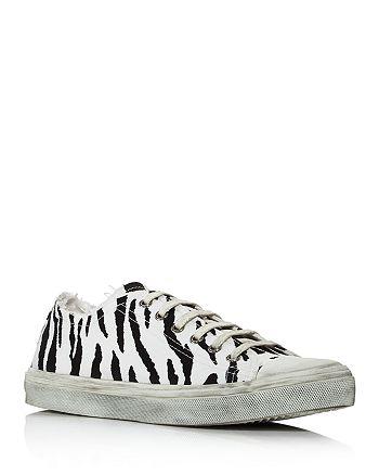 Saint Laurent - Women's Bedford Animal-Print Low-Cut Sneakers
