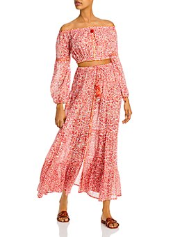 Poupette St. Barth - Rachel Floral-Print Off-the-Shoulder Top & Tiered Skirt