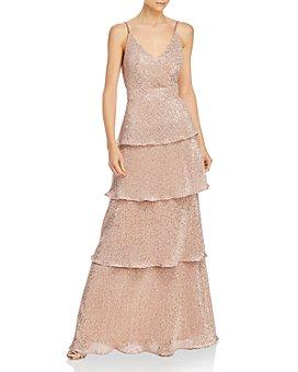 AQUA - Tiered Sequined Gown - 100% Exclusive