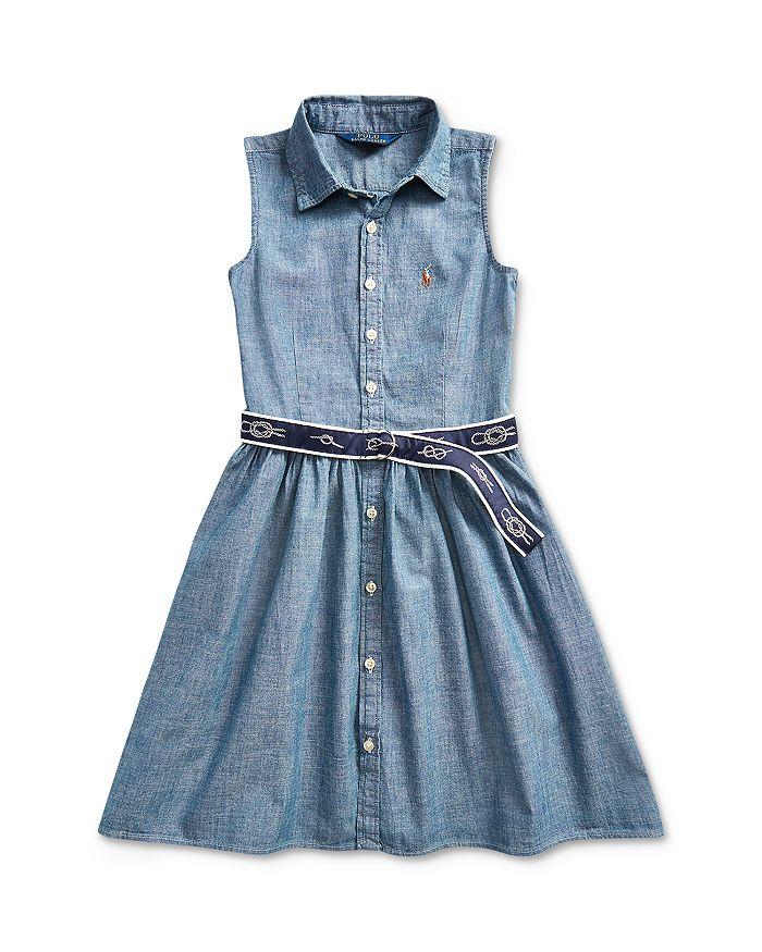 Ralph Lauren - Girls' Belted Chambray Shirtdress - Little Kid