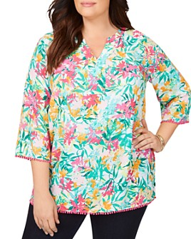 Foxcroft Plus - Heather Abstract Tropical Print Top