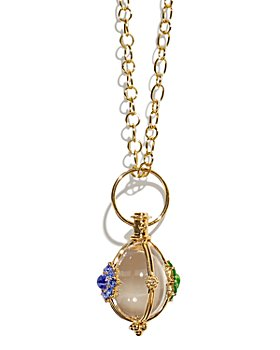 """Temple St. Clair - 18K Yellow Gold Stella Dreamcatcher Multi-Gemstone Amulet Pendant and 32"""" 18K Yellow Gold Ribbon Chain Necklace"""