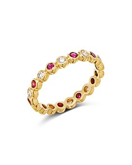 Temple St. Clair - 18K Yellow Gold Ruby & Diamond Eternity Band
