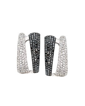 Roberto Coin - 18K White Gold Black & White Diamond Double Hoop Earrings