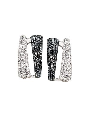Roberto Coin 18K White Gold Black & White Diamond Double Hoop Earrings-Jewelry & Accessories