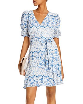 AQUA - Printed Puff-Sleeve Dress - 100% Exclusive
