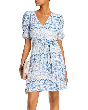 AQUA - Printed Puff-Sleeve Dress - 100% Exclusive