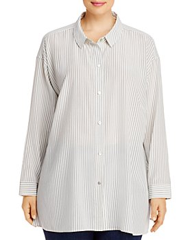 Eileen Fisher Plus - Pinstriped Silk Button-Front Shirt