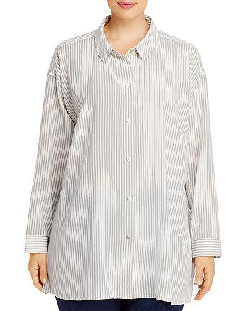 Eileen Fisher Plus - Pinstriped Silk Button-Front Shirt